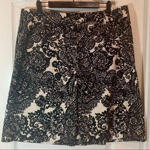 Talbots Cotton Blend Black White Print Skirt 16W